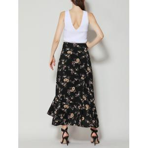 Tiny Floral Print Asymétrique Ruffle Long Skirt -