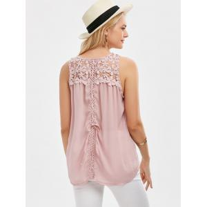 Lace Up Floral Lace Panel Tank Top -