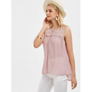 Lace Up Floral Lace Panel Tank Top - PINK S