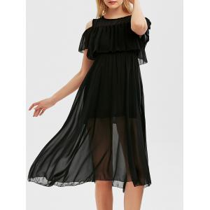 High Waist Flounce Cold Shoulder Dress