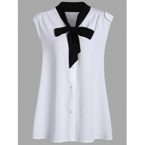 Chiffon Bow Tie Sleeveless Plus Size Blouse - White - 3xl
