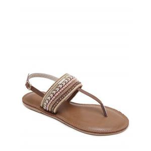 Beading Belt Buckle Flat Heel Sandals - Deep Brown - 38