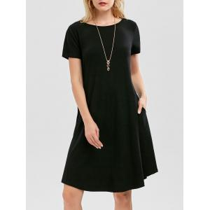 Short Sleeve Pockets Short Casual Swing Dress