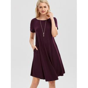 Short Sleeve Pockets Short Casual Swing Dress - CONCORD S