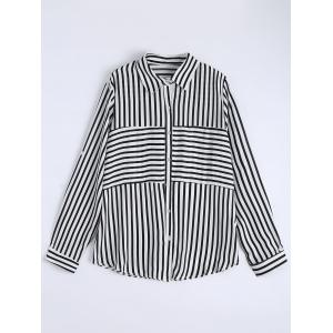 Plus Size Button Up Stripe Shirt - White - 4xl