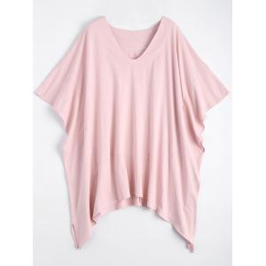 Plus Size V Neck Dolman Sleeve Swing T-shirt