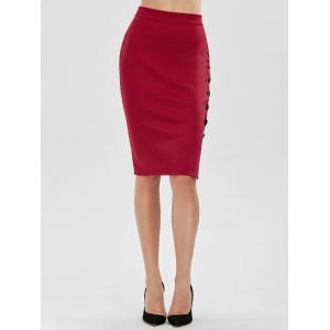 Jupe de conception de boutons haute taille Waisted Bodycon - Rouge TAILLE MOYENNE
