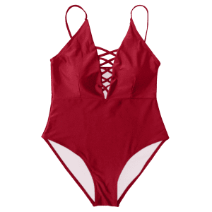 Cami Lace-Up Strappy Padded One-Piece Bathing Suit - RED XL