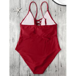 Cami Lace-Up Strappy Padded One-Piece Bathing Suit - RED M