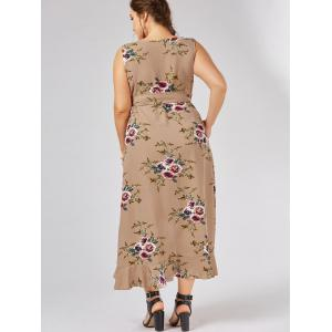 Plus Size Overlap Flounced Tiny Floral Dress - APRICOT 5XL