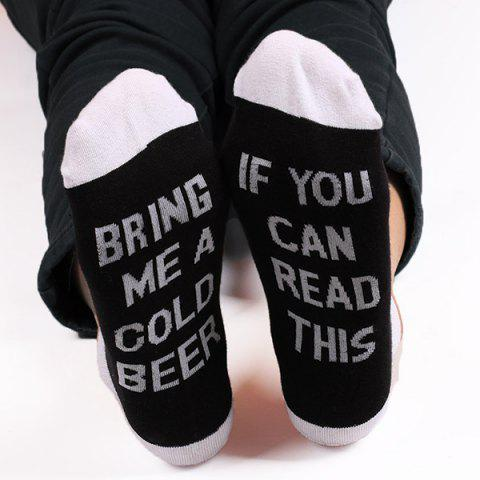 Online Fun Letters Pattern Color Blocking Knitted Ankle Socks - WHITE AND BLACK  Mobile