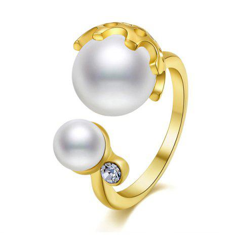 Trendy Gold Plated Faux Pearl Rhinestone Cuff Ring GOLDEN