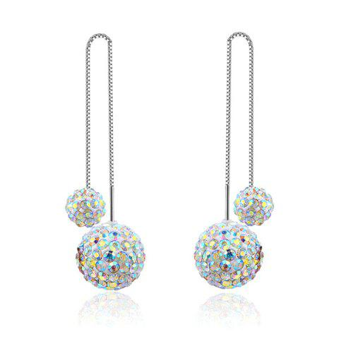 Double Rhinestoned Balls Chain Embellished Drop Earrings - Silver