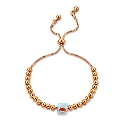 Glass Stone Gold Plated Beads Bracelet - Rose Gold