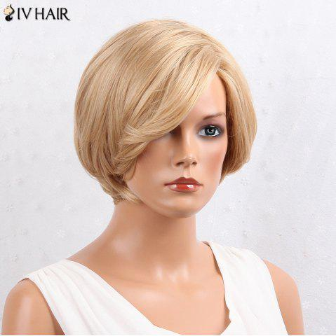 Outfits Siv Hair Layered Inclined Bang Short Straight Human Hair Wig - BROWN WITH BLONDE  Mobile
