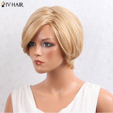 New Siv Hair Layered Inclined Bang Short Straight Human Hair Wig - BROWN WITH BLONDE  Mobile
