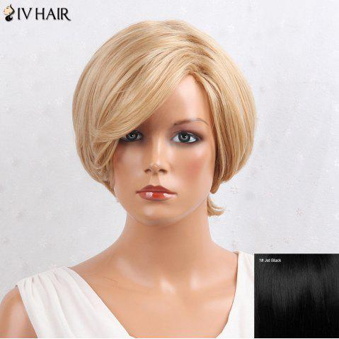 Siv Hair Layered Inclined Bang Short Straight Human Hair Wig RAL Темно черный