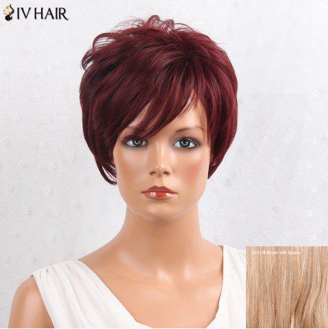 Affordable Siv Hair Layered Shaggy Side Bang Short Straight Human Hair Wig - BROWN WITH BLONDE  Mobile