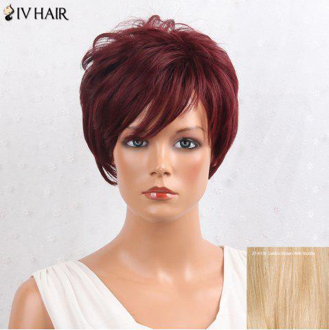 Trendy Siv Hair Layered Shaggy Side Bang Short Straight Human Hair Wig - GOLDEN BROWN WITH BLONDE  Mobile