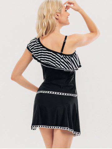 Outfits One Shoulder Ruffle Skirted Tankini Set - S BLACK Mobile