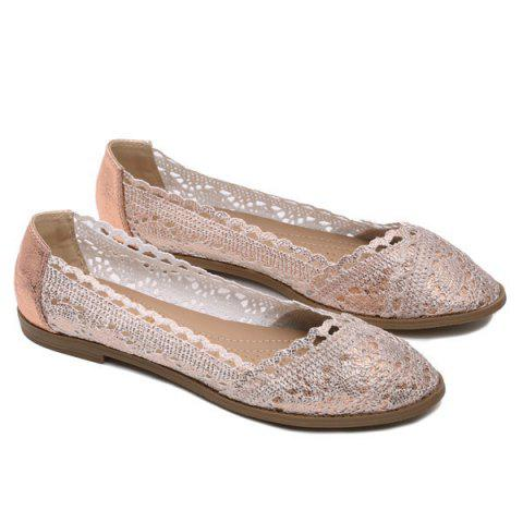 Store Crochet Round Toe Flat Shoes - 37 CHAMPAGNE Mobile