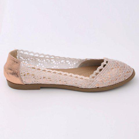 Best Crochet Round Toe Flat Shoes - 37 CHAMPAGNE Mobile