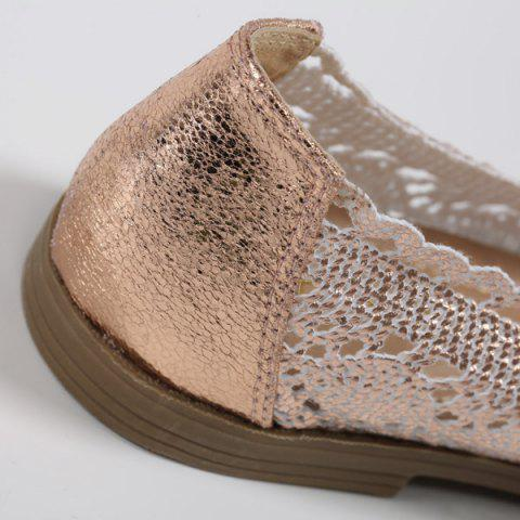 Outfit Crochet Round Toe Flat Shoes - 37 CHAMPAGNE Mobile