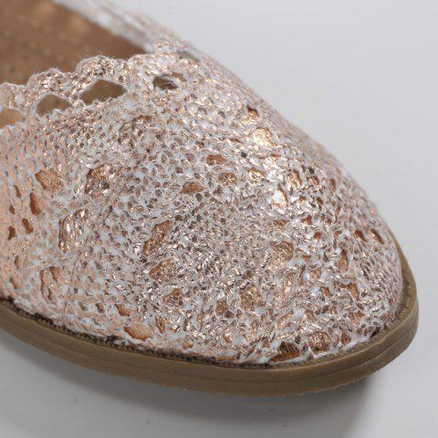 Online Crochet Round Toe Flat Shoes - 37 CHAMPAGNE Mobile