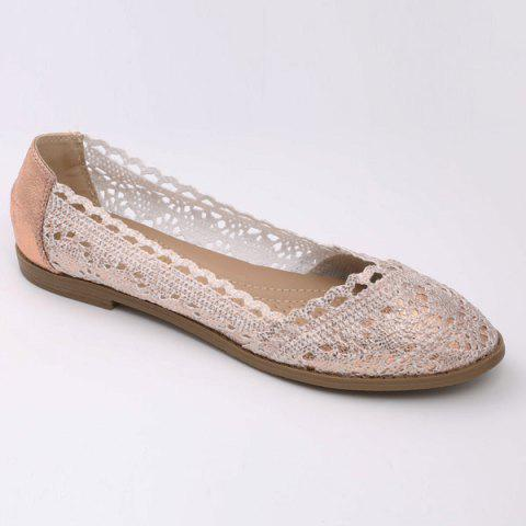 Hot Crochet Round Toe Flat Shoes - 37 CHAMPAGNE Mobile