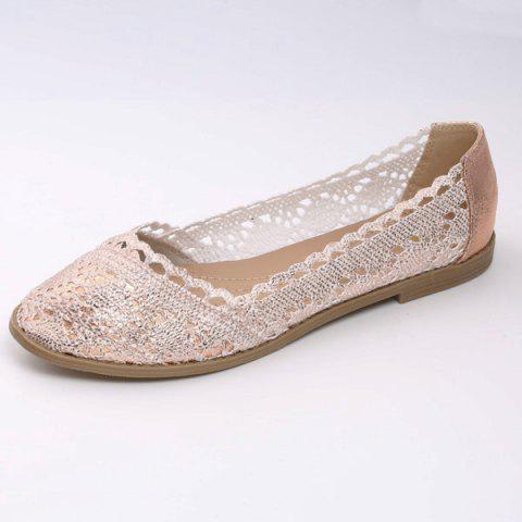 Shops Crochet Round Toe Flat Shoes - 37 CHAMPAGNE Mobile