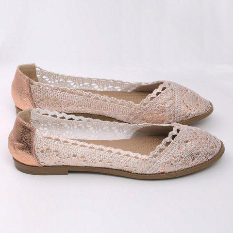 Shop Crochet Round Toe Flat Shoes - 37 CHAMPAGNE Mobile