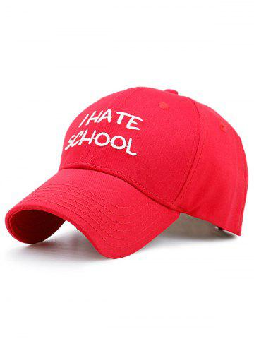 I Hate School Embroidery Baseball Hat - Red - One Size