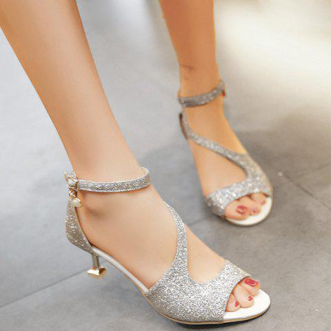 Glitter Sequin Peep Toe Sandals - Silver - 38
