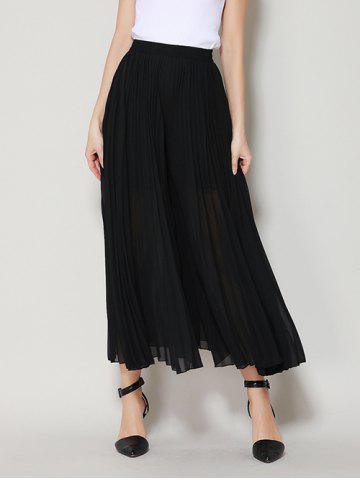 Store High Waist Chiffon Flowy Wide Leg Pants BLACK ONE SIZE