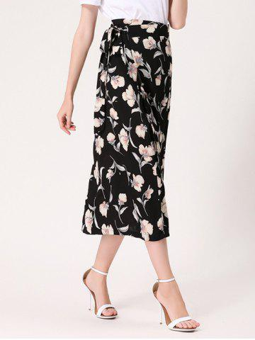 Outfit Flower Print Midi Wrap Skirt - ONE SIZE BLACK Mobile