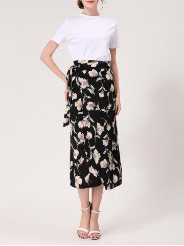 Discount Flower Print Midi Wrap Skirt - ONE SIZE BLACK Mobile