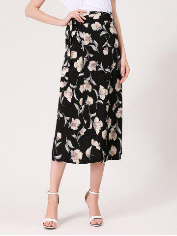 Cheap Flower Print Midi Wrap Skirt - ONE SIZE BLACK Mobile