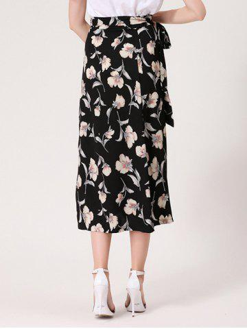Chic Flower Print Midi Wrap Skirt - ONE SIZE BLACK Mobile