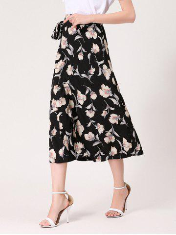 Trendy Flower Print Midi Wrap Skirt - ONE SIZE BLACK Mobile