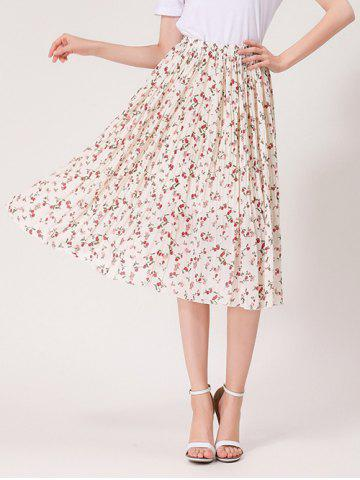 Outfit Tiny Floral Print High Waist Midi Skirt - ONE SIZE WHITE Mobile