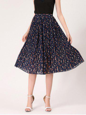Discount Tiny Floral Print High Waist Midi Skirt - ONE SIZE MIDNIGHT Mobile