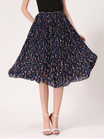 Affordable Tiny Floral Print High Waist Midi Skirt - ONE SIZE MIDNIGHT Mobile