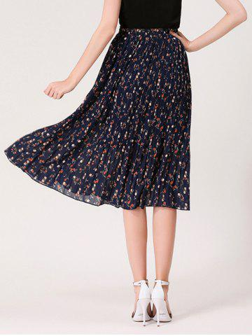 New Tiny Floral Print High Waist Midi Skirt - ONE SIZE MIDNIGHT Mobile
