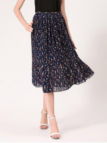 Chic Tiny Floral Print High Waist Midi Skirt - ONE SIZE MIDNIGHT Mobile