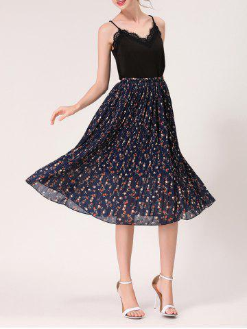Best Tiny Floral Print High Waist Midi Skirt - ONE SIZE MIDNIGHT Mobile