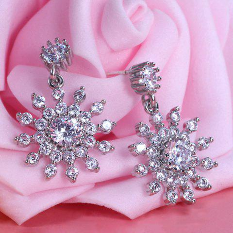 Alloy Rhinestone Flower Design Drop Earrings - Silver