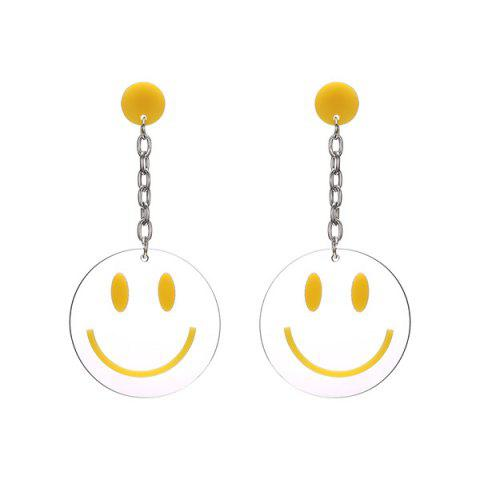 Smiling Face Transparent Round Drop Earrings - Yellow