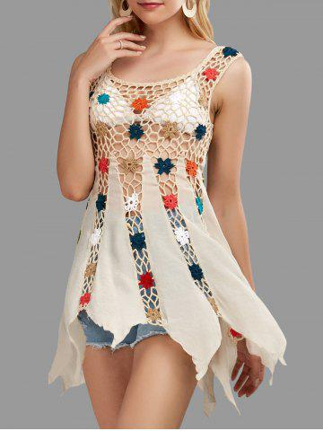 Crochet Floral Cover Up Tunic Top - Apricot - One Size