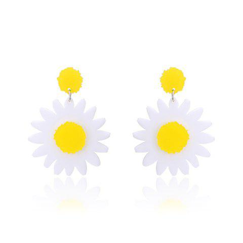Sunflower Shape Two Tone Drop Earrings - White