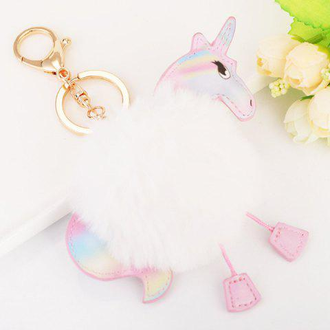 Hot Fuzzy Ball Unicorn Key Chain WHITE